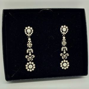 Joan Rivers White Rhinestone Dangle Earrings